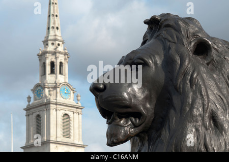Close-up of lion in Trafalgar Square , London,England - Stock Photo