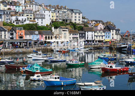 boats moored in the harbour at brixham, devon, uk - Stock Photo
