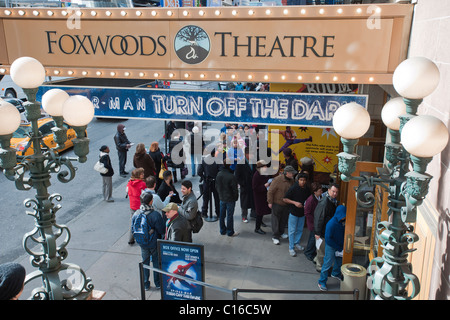 The Foxwoods Theatre in Times Square in New York at a matinée of a preview of 'Spider-Man Turn Off The Dark - Stock Photo