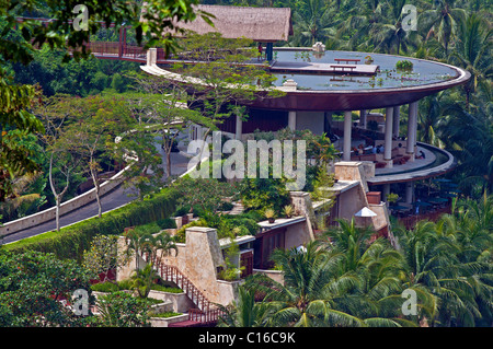 The Four Seasons Hotel set amongst the rice paddies at Sayan in Bali - Stock Photo