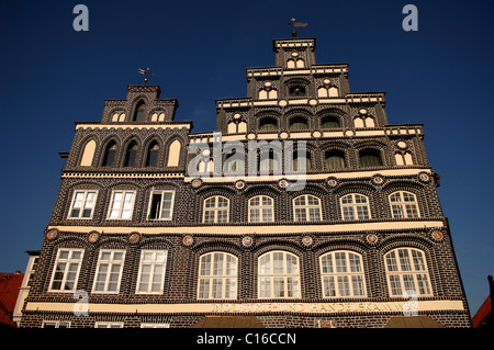 Renaissance facade of the Industire and Chamber of Commerce, in detail, Lueneburg, Lower Saxony, Germany, Europe - Stock Photo