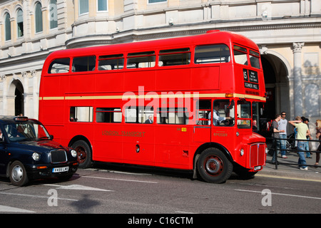Double-decker bus in London, England, Great Britain, Europe - Stock Photo