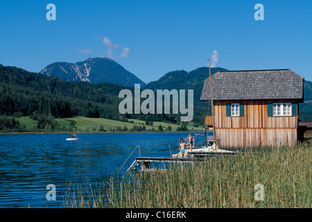 Boathouse, Lake Weissensee, Carinthia, Austria, Europe - Stock Photo