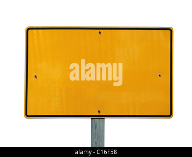 Blank reflective yellow highway message sign. - Stock Photo