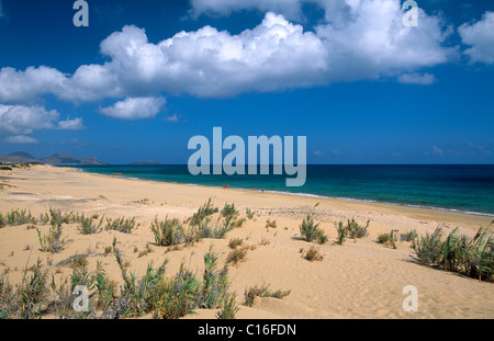 Sandy beach on Porto Santo Island, Madeira, Portugal, Europe - Stock Photo