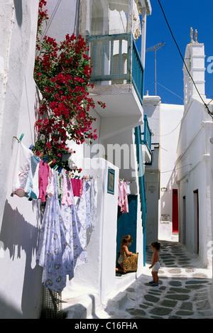 Alley in Mykonos town, Mykonos Island, Cyclades, Greece, Europe - Stock Photo