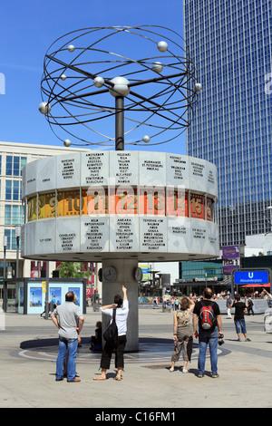 World time clock on Alexanderplatz Square in Berlin, Germany, Europe - Stock Photo