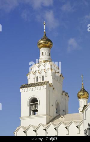 bright Orthodox Church under clear blue sky; All Saints orthodox Church in Minsk, Belarus - Stock Photo