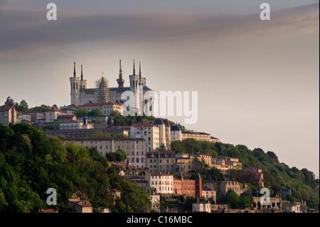 Basilica Notre-Dame de Fourvière above the historic centre of Lyon, France, Europe - Stock Photo