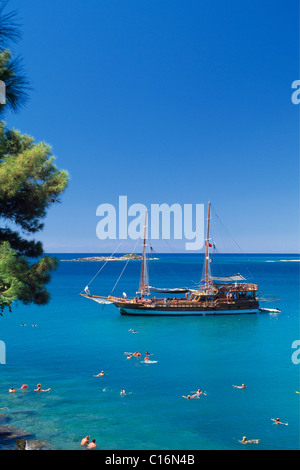 Guelet boats near Incekum, Turkish Riviera, Turkey, Eurasia - Stock Photo