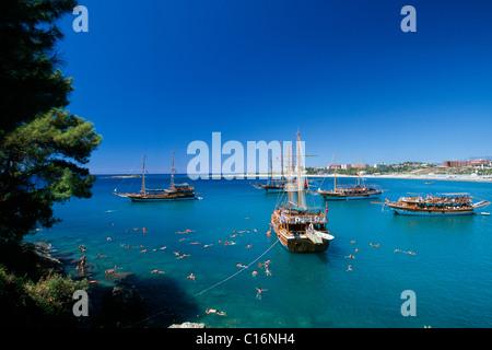 Guelet boats, Incekum, Turkish Riviera, Turkey, Eurasia - Stock Photo