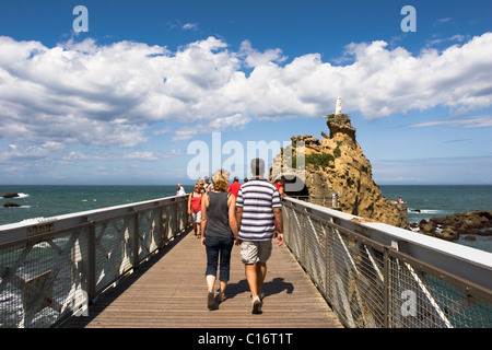 Virgin on the Rock in Biarritz, France - Stock Photo