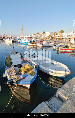 Fishing boats in the port of Naoussa, Paros, Cyclades, Greece, Europe - Stock Photo