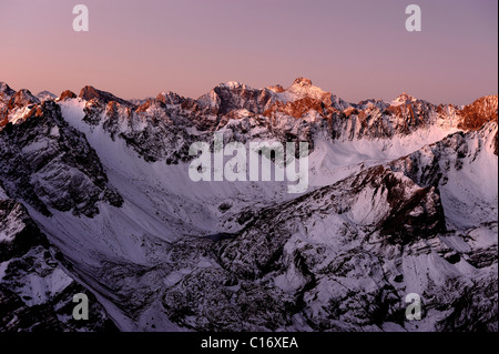Snow-covered Alpine peaks at sunrise, Gramais, Lechtal, Reutte, Tirol, Austria, Europe - Stock Photo
