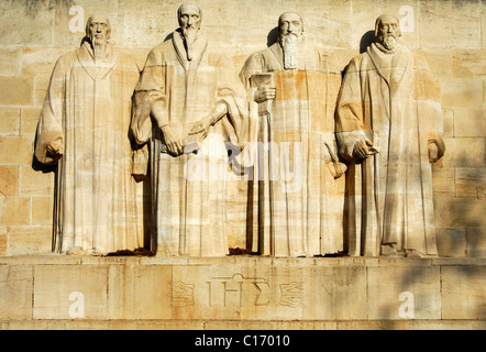 Calvin-year 2009, international memorial to reformation in , from left to right: Farel, Calvin, Beza, Knox, , Switzerland - Stock Photo