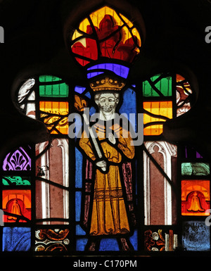A medieval stained glass window depicting King Ceolwyn, St Cuthbert's Church, Edenhall near Penrith, Cumbria. - Stock Photo