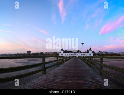 Pier in Ahlbeck in the early morning, Usedom Island, Mecklenburg Western-Pomerania, Germany, Europe - Stock Photo