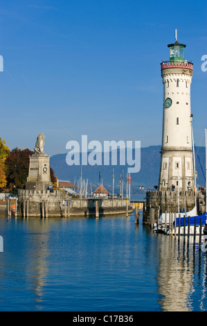 Harbour, Lindau am Bodensee, Lake Constance, Bavaria, Germany, Europe - Stock Photo