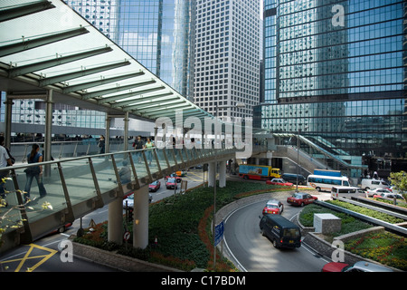 Facades of multistory buildings, traffic, Central, Hongkong, China, Asia - Stock Photo