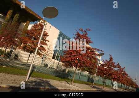 Side view of the backside of the Federal Chancellery in Berlin Mitte, Germany, Europe - Stock Photo