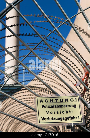 Sign on the backside of the Federal Chancellery in Berlin Mitte, Germany, Europe - Stock Photo