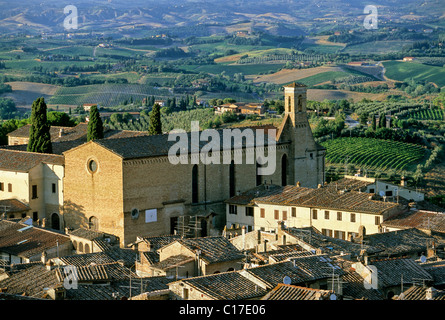 Sant'Agostino church, San Gimignano, province of Siena, Tuscany, Italy, Europe - Stock Photo