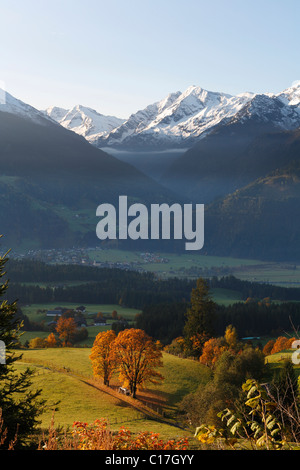 View from Passthurn over Hollersbach im Pinzgau of Hohe Tauern Mountains with Venedigergruppe, mountain range, , - Stock Photo
