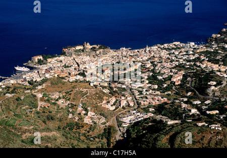 Italy, Sicilia, Eolie Island, Lipari Island (aerial view) - Stock Photo