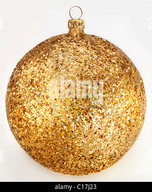 Christmas ball, gold glittering - Stock Photo