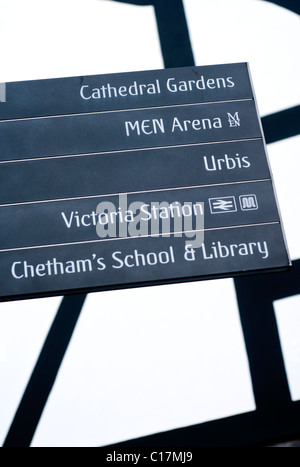 Signs for pedestrians in Manchester city center in England - Stock Photo