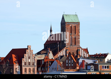 Historic St. Nikolai Church in the Old Town of Wismar, UNESCO World Heritage Site, Mecklenburg-Western Pomerania - Stock Photo