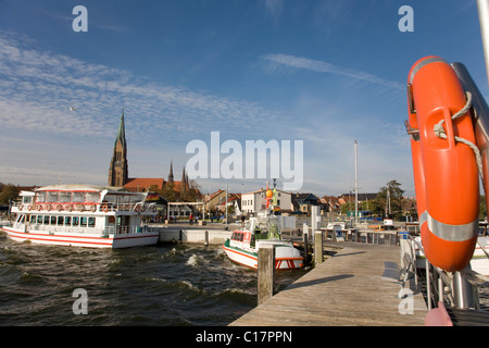 Harbour with view to St. Petri Dom, St. Peter's Cathedral, Schleswig an der Schlei, Ostsee, Schleswig-Holstein, - Stock Photo