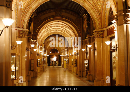 Freyung Passage, shopping arcade in Palais Ferstel, Palais Ferstel, Vienna, Austria, Europe - Stock Photo