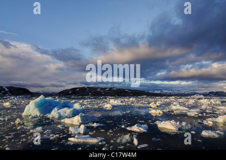 Icebergs in the Johan Petersen Fjord, East Greenland, Greenland - Stock Photo