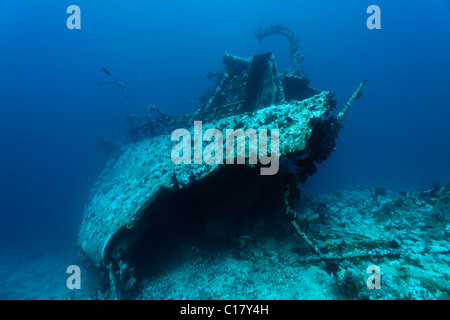 View from above of the Aida ship wreck in blue water, Hurghada, Brother Islands, Red Sea, Egypt, Africa - Stock Photo
