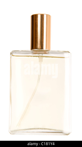 There is a bottle of perfume with golden cork - Stock Photo