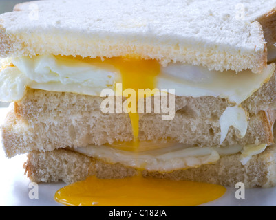 Fried Egg Sandwich in a Stack - Stock Photo