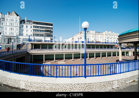 Elegant architecture of the 1930s Eastbourne bandstand on the seafront of the resort town in East Sussex - Stock Photo