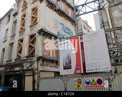 Paris, France, Abandoned Apartments Buildings being rebuilt in 11th District - Stock Photo