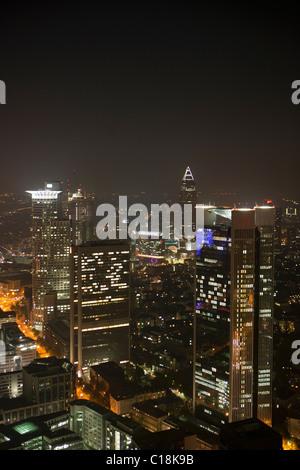 Frankfurt city skyline by night - Stock Photo