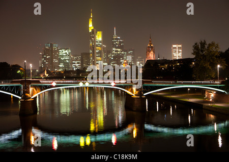 Frankfurt city skyline by night - Stock Photo