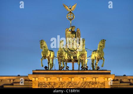 Quadriga above Brandenburg Gate at night, Berlin, Germany, Europe - Stock Photo