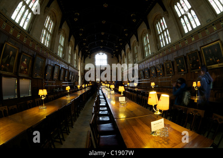 Great Hall, or, dining room, at Christ Church College, Oxford University,  Oxford, Oxfordshire, England, UK, United - Stock Photo