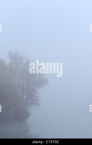 Fog over pond in autumn - Stock Photo