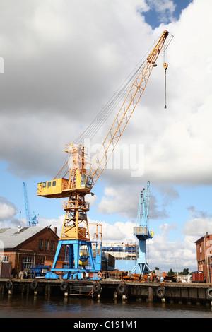Loading crane, Emden Harbour, Lower Saxony, Germany, Europe - Stock Photo