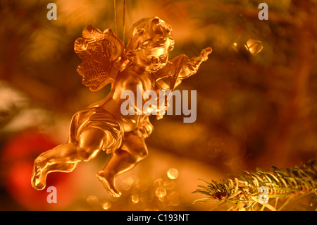 Golden angel, christmas decoration on a pine tree - Stock Photo