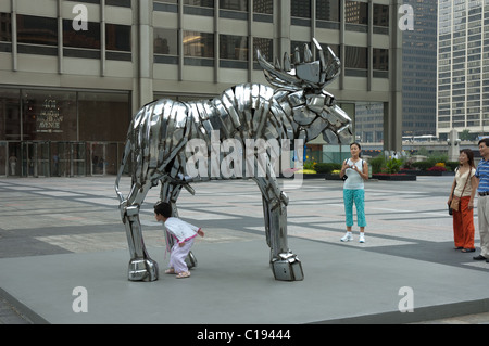 Moose is a sculpture by John Kearney Downtown Chicago - Stock Photo