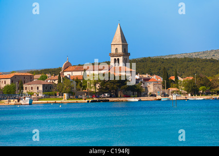Campinale of the church of Osor Cres Island, Croatia - Stock Photo