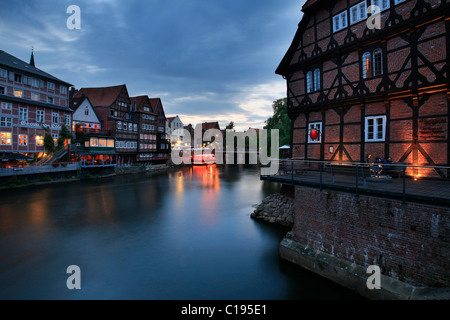 The Stintmarkt or Smelt Market on the Lueneburg harbor, Lower Saxony, Germany, Europe - Stock Photo