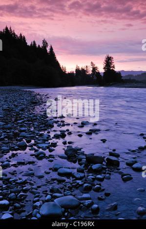 River shore in morning light, Olympic National Park, Washington, USA, North America - Stock Photo
